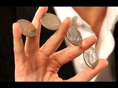 How to Do the 4 Coin Flourish   Coin Tricks