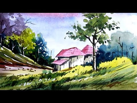 Watercolor Nature Painting – Scenery Drawing Easy