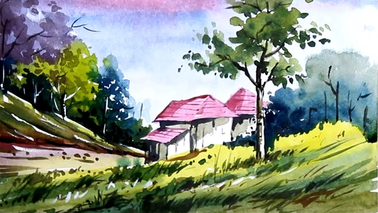 Watercolor Nature Painting Scenery Drawing Easy Painting With Oil Paints