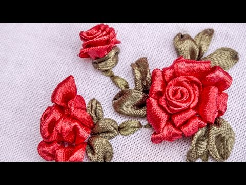 Ribbon Flowers|Red Roses|Embroidery Stitches by Hand|HandiWorks #73
