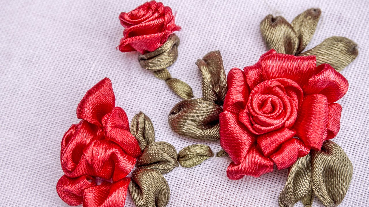 Ribbon flowers red roses embroidery stitches by hand
