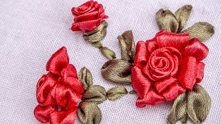 Satin Ribbon Embroidery Roses is three dimensional. The lovely red ...