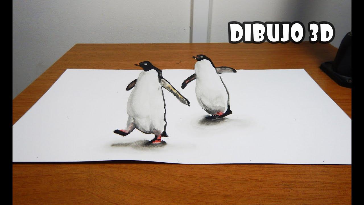 C mo dibujar un pinguino realista en 3d drawing a for Dibujar un mueble en 3d