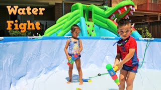 Backyard Water Fight Fun Playtime Giant Inflatable Water Slide Spiderman Swimming Ckn Toys