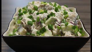 Потрясающе Вкусный Салат с курицей,грибами,и огурцом.