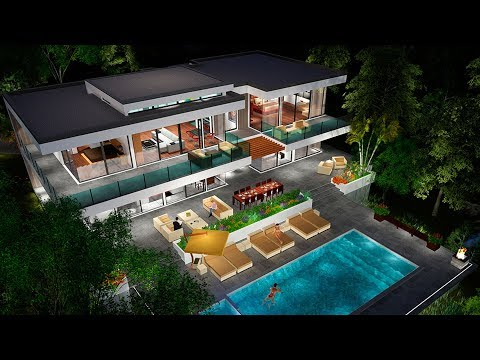The Sims 4 - Real to Sims SERIES | Speed Build | Modern Glass House Building