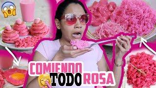 24 HORAS COMIENDO TODO COLOR ROSA | Yarissa 🎄