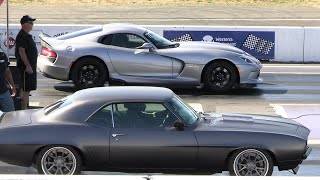 Old vs New School-muscle cars drag racing Dodge Demon, Hellcat, Cuda, Chevy Nova, Dodge Charger,