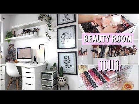 BEAUTY ROOM TOUR & STORAGE (Ikea Alex Drawers) | Natalie Boucher