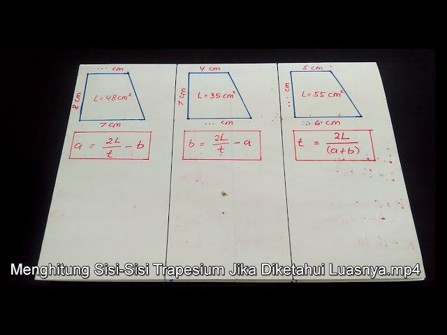 Menghitung Tinggi Trapesium Panjang Sisi Atas Dan Bawah Trapesium Jika Diketahui Luasnya Youtube