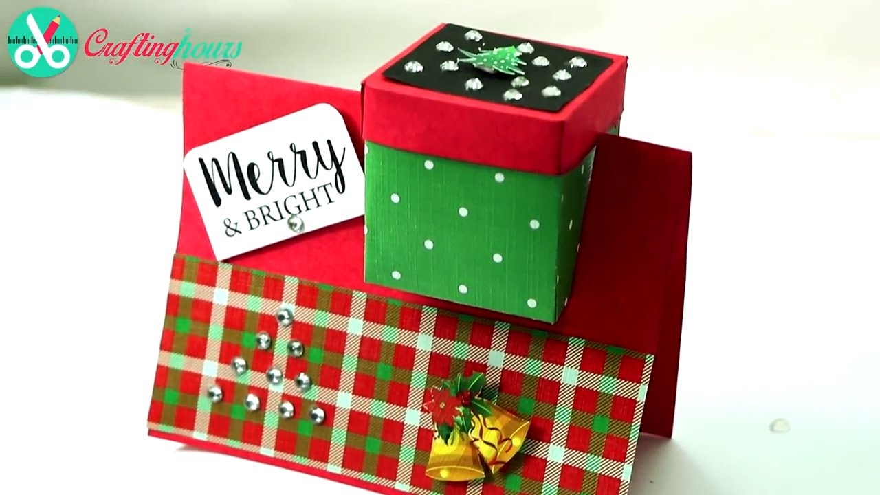 DIY Christmas Card with Paper Gift Box, 3D Greeting Card - YouTube