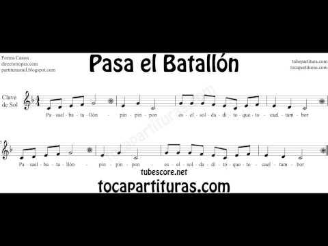 Pasa el Batallón Vídeo Partitura Infantil Popular forma Canon Music Sheets