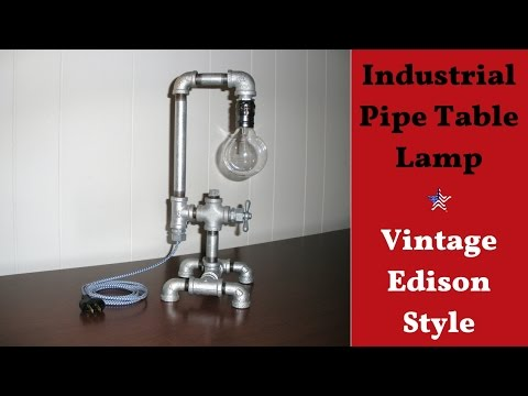 Galvanized Industrial Pipe Table Lamp - Vintage Edison Style
