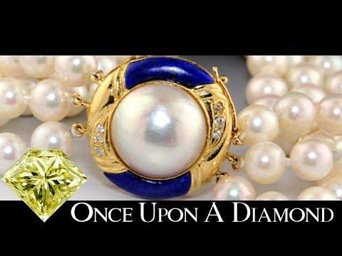Retro Mabe Pearl, Lapis & Diamond 3 Strand Vintage Bracelet 14K Yellow Gold Shreveport Pearl Jewelry