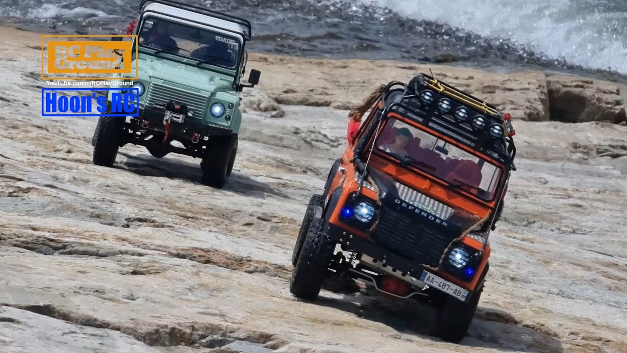 XtraSpeed D110 & RC4WD D90 Defender Creek Rock Crawling