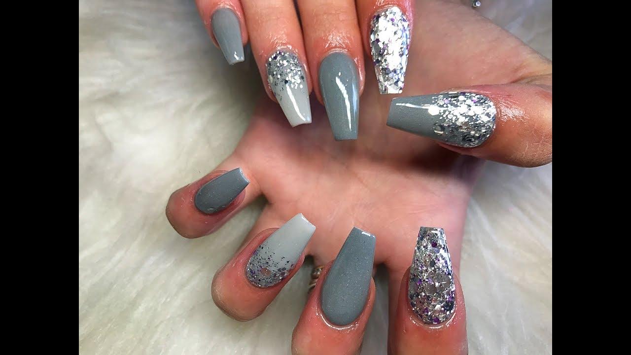 grey acrylic nails glitter