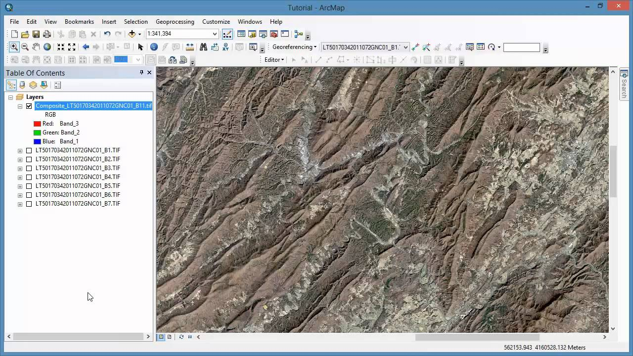 Remote Sensing in ArcGIS Tutorial 12: Band Combination using Landsat Imagery
