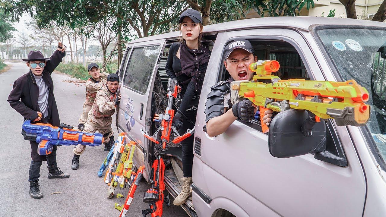 LTT Game Nerf War : Warriors SEAL X Nerf Guns Fight Crime Rocket Crazy Transporter Car Thief Group