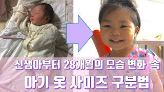 신생아부터 28개월까지 변화 속 아기 옷 사이즈 구분법