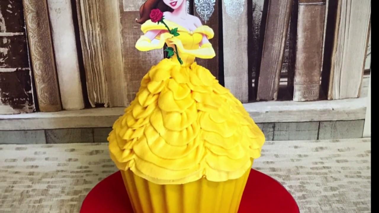 Beauty & the Beast Theme Giant Cupcake cake Tutorial! Belles Dress ...