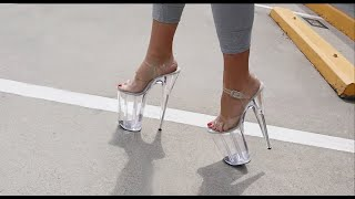Review Walking In Pleaser Beyond008 Clear 10 Inch High Heel Platform Shoes