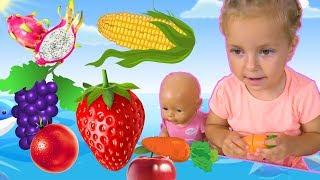 Учим Название овощей и фруктов на русском языке Игрушки на липучках для детей. Развивающее видео
