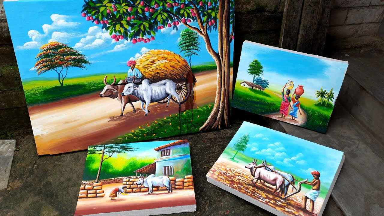 Indian village nature and scenery paintings | #shorts
