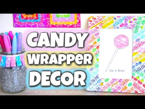 DIY CANDY WRAPPER ROOM DECOR - Picture Frame, Pencil Holder, & Wall Art!