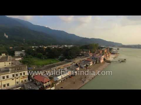Rishikesh as seen from the air: Ganges descends into the Indian plains