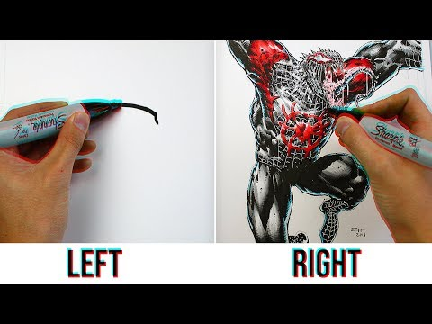 Professional Artists Try The Left Hand vs Right Hand Art Challenge *IMPOSSIBLE*