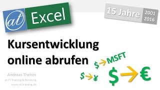 Excel - Kurse online abrufen - Yahoo Finance