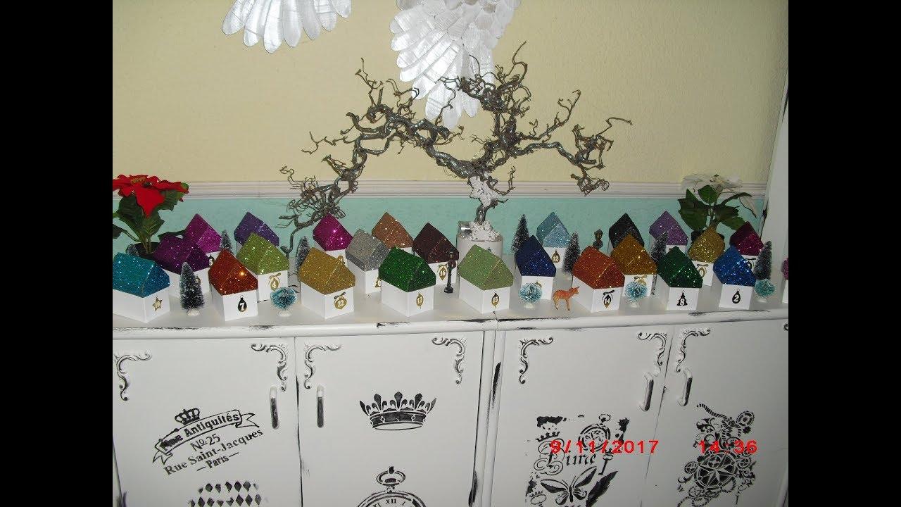 Adventskalender basteln - Glitter Weihnachtsdorf - edel - und ganz