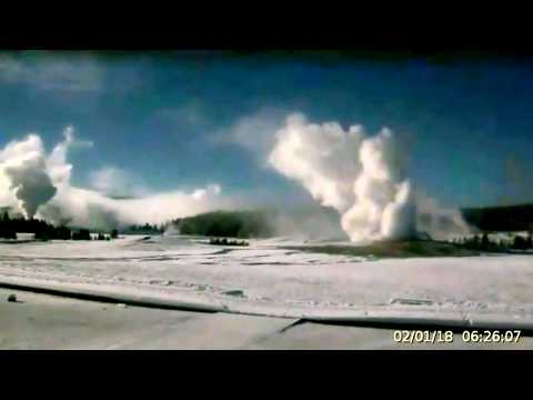 Wow! Overnight to Morning Geysers! Bison, Coyote. Feb.1 @Yellowstone!