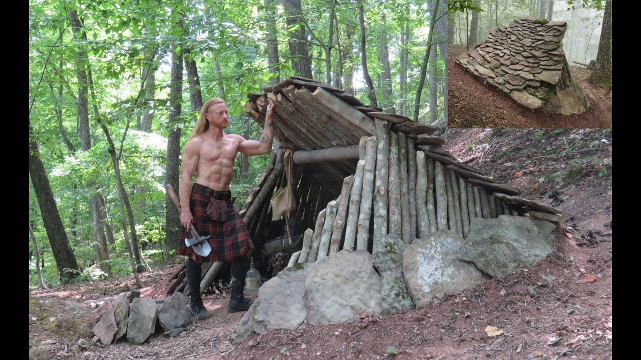 Primitive Bushcraft Shelter Stone Roofed Lean To Short