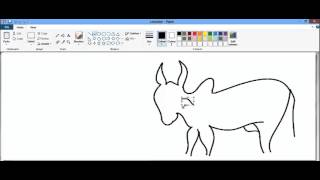 Simple drawing of ox in paint