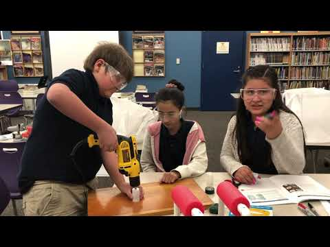 SeaPerch Frame Assembly in the School Library