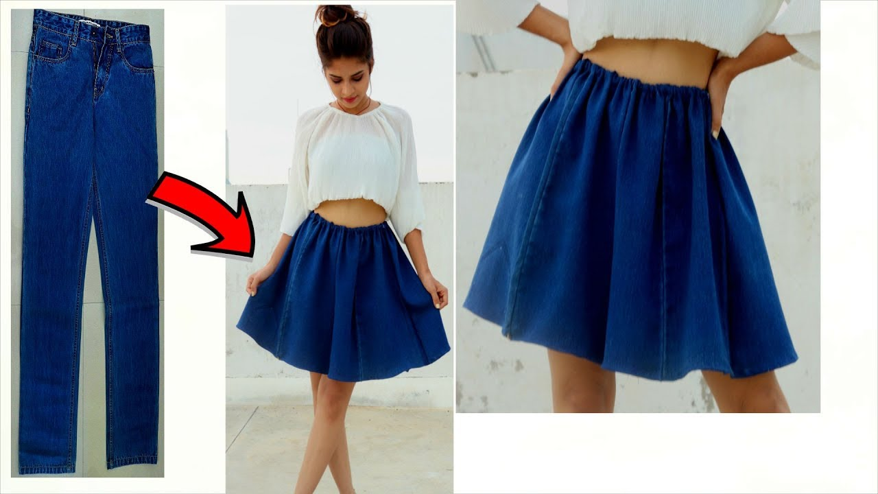 new style & luxury various styles luxury aesthetic Convert/Recycle Old Jeans into Girls FLARED/CIRCULAR Skirt | Super Easy  Denim Skirt in 5 Minutes