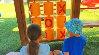 Kids playing in outdoor playground. Funny video from KIDS TOYS CHANNEL