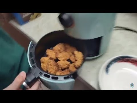 Dash Air Fryer - Fried Boneless Chicken Wings W Buffalo Wild Wings Sauce + Fried French Fries