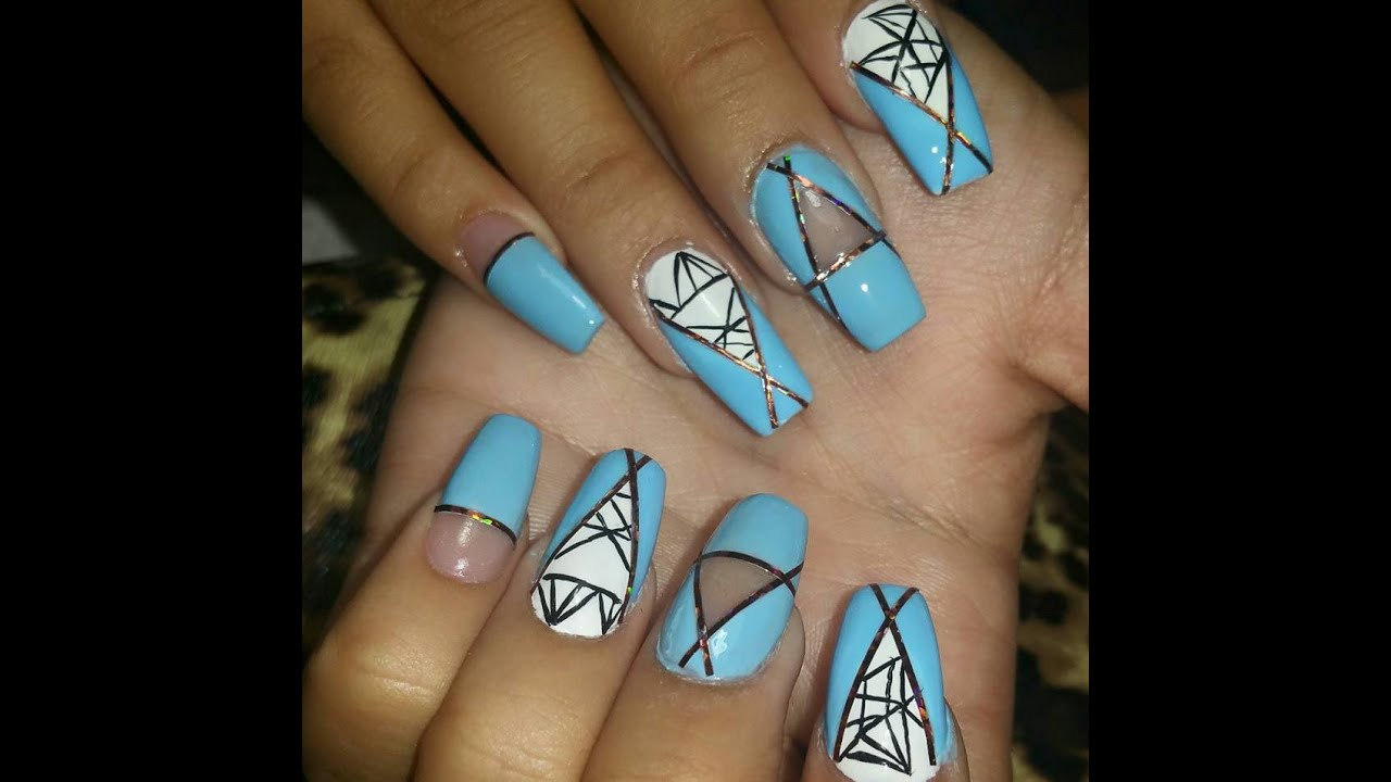 Coffin Nails with blue, white and black nail art - YouTube