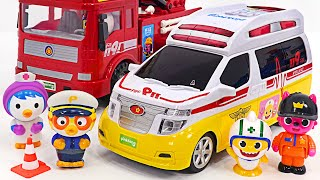 Pinkfong baby shark ambulance is dispatched!! Pororo police car and fire truck are also dispatched~!