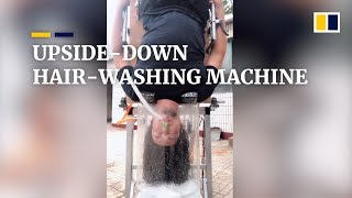 An upside-down hair-washing machine, 'Useless' Edison's latest invention