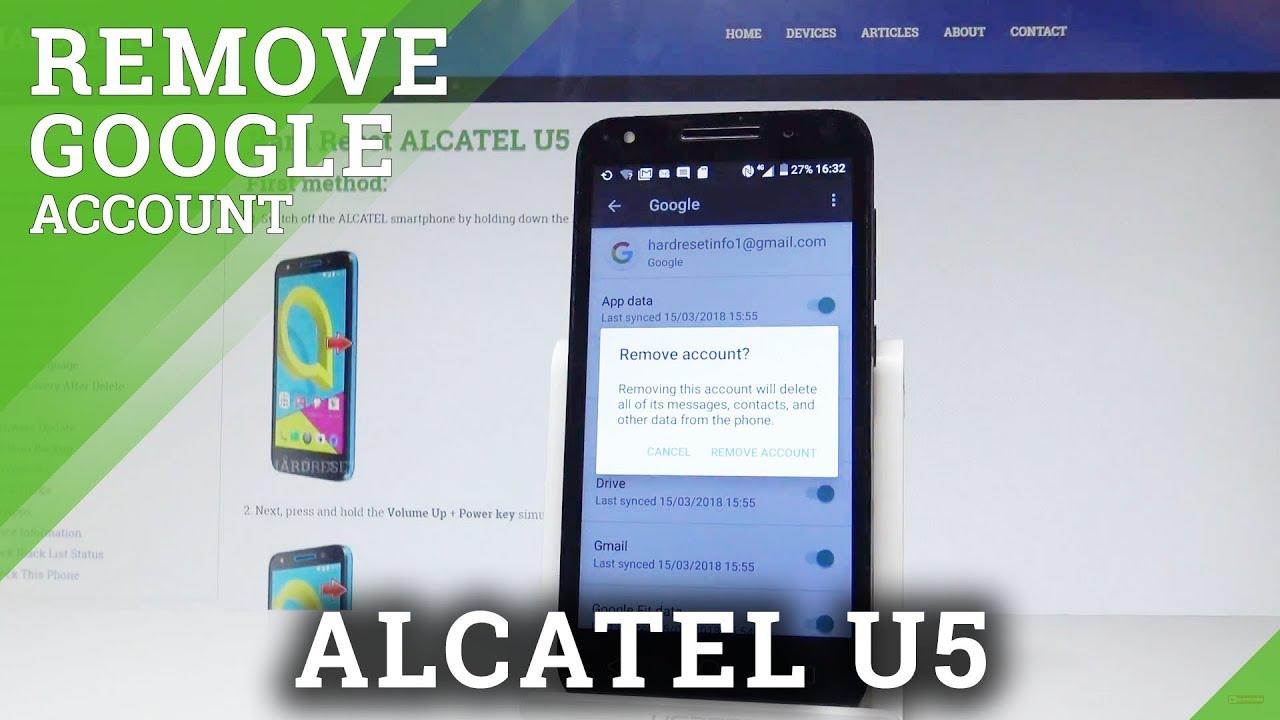 How to Remove Google Account from ALCATEL U5 - Delete Google Account  |HardReset Info