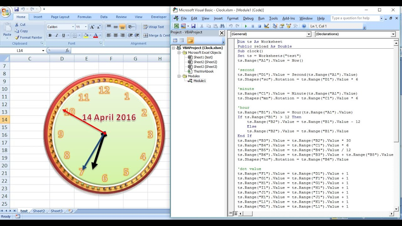 how to create analog clock animation in ms  excel