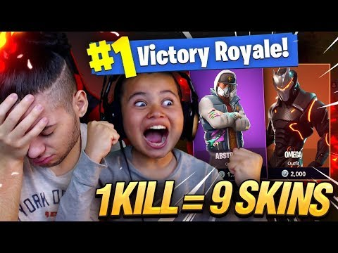 1 KILL = 9 FREE SKINS FOR MY 9 YEAR OLD LITTLE BROTHER! 9 YEAR OLD PLAYS SOLO FORTNITE BATTLE ROYALE