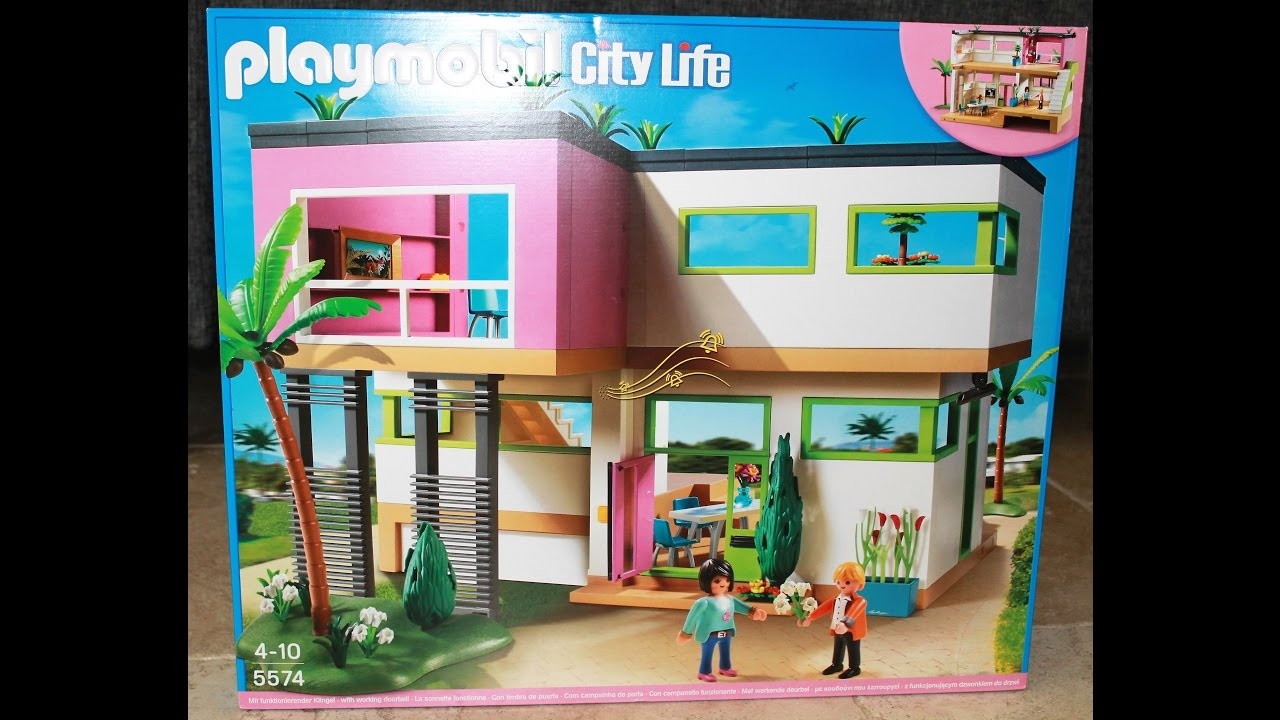 2 maison moderne playmobil city life 5574 youtube for Maison moderne 5574
