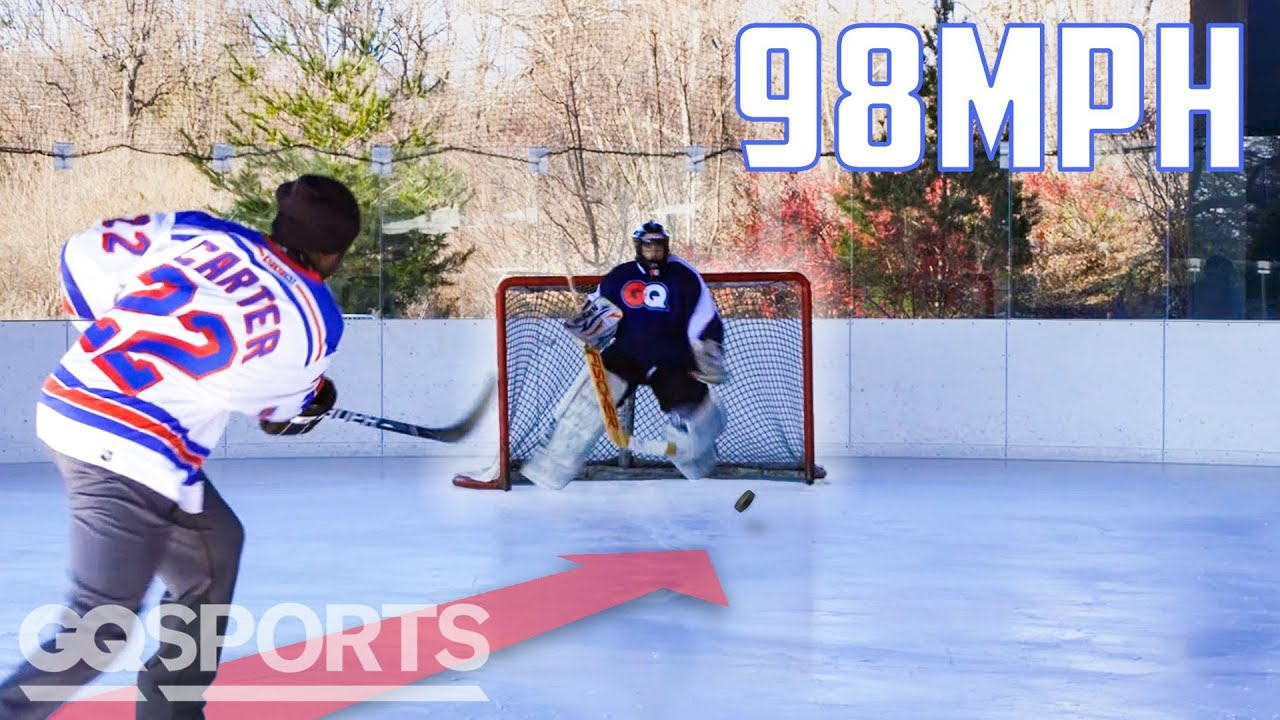 Can an Average Guy Stop a Hockey Pro's 98MPH Slap Shot? | Above Average Joe | GQ