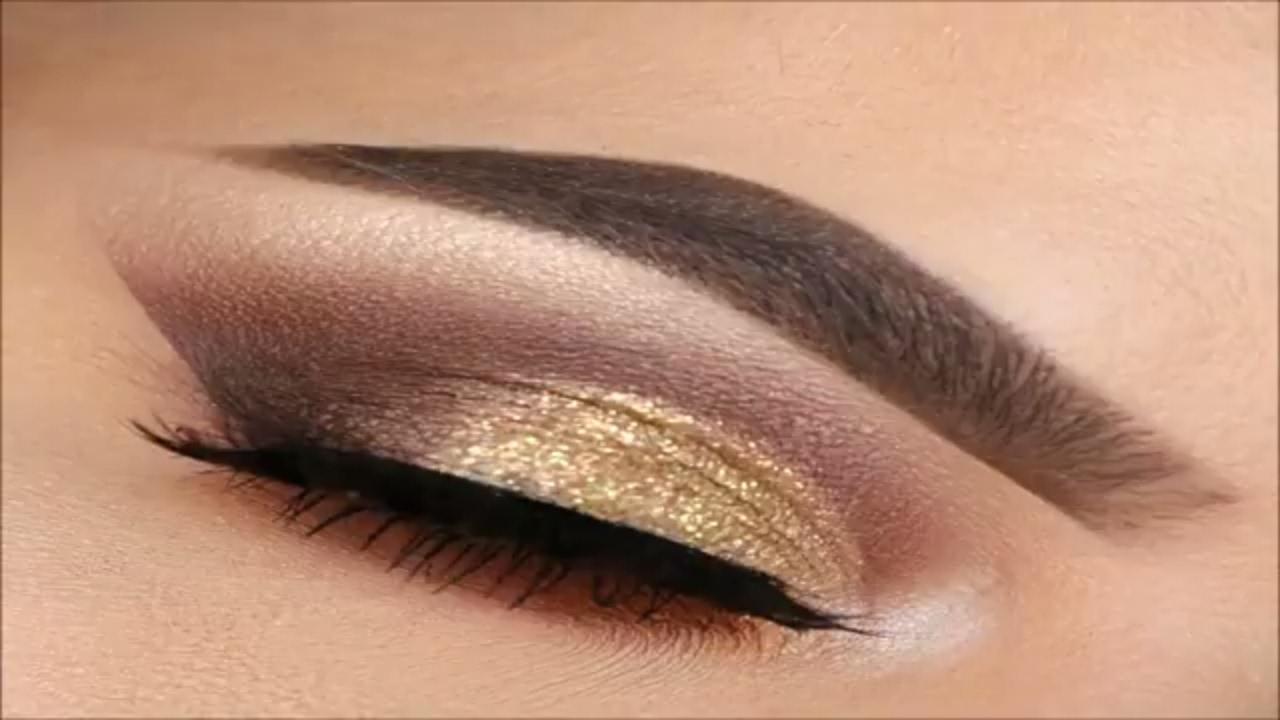 Gold Glitter Smokey Eye Makeup - YouTube