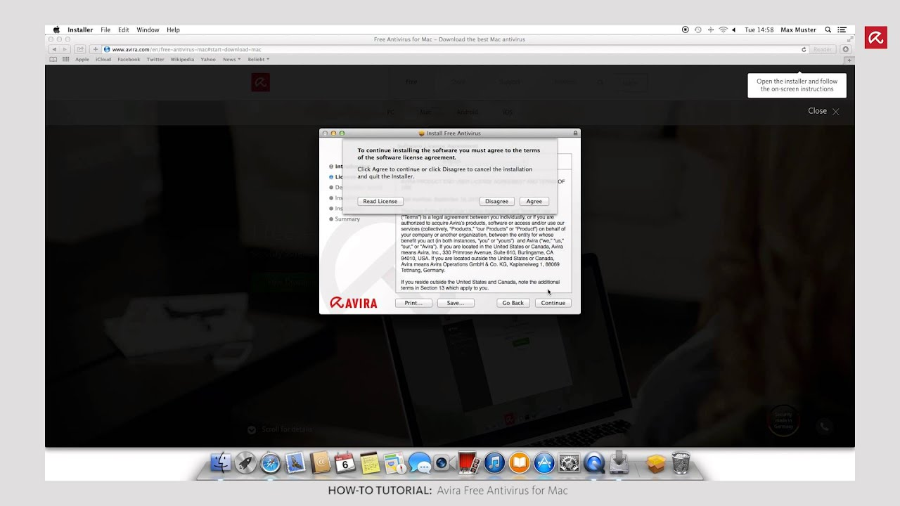Installation Avira Free Antivirus for Mac (English)