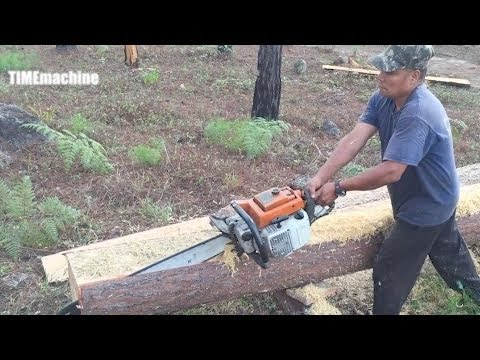 Awesome Chainsaw Skill In Cutting Log To Lumber